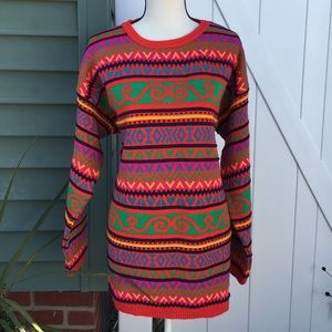 Vintage 90s Striped Oversized Long Length Sweater